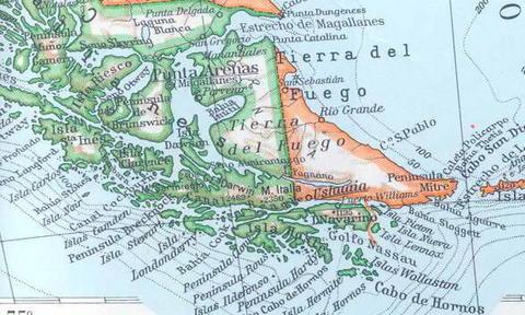 Mapa antiguo de Tierra del Fuego, Patagonia