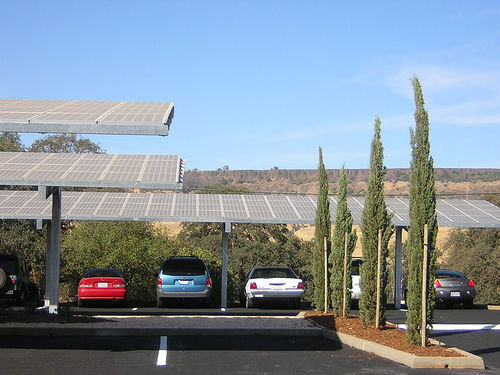 Solar Panels used as Parking Shade